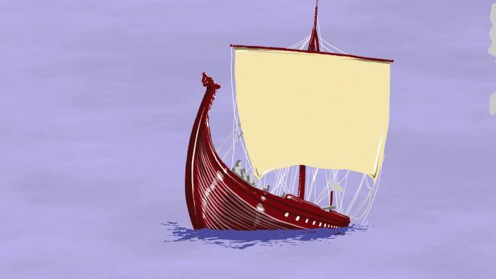 Zeichnung von einem Segelboot mit lila Hintergrund und großem Segel